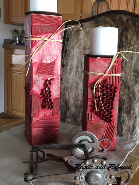 red candle holder with bit
