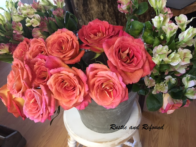 top view of fall roses