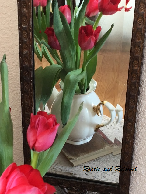 tulips in teapot