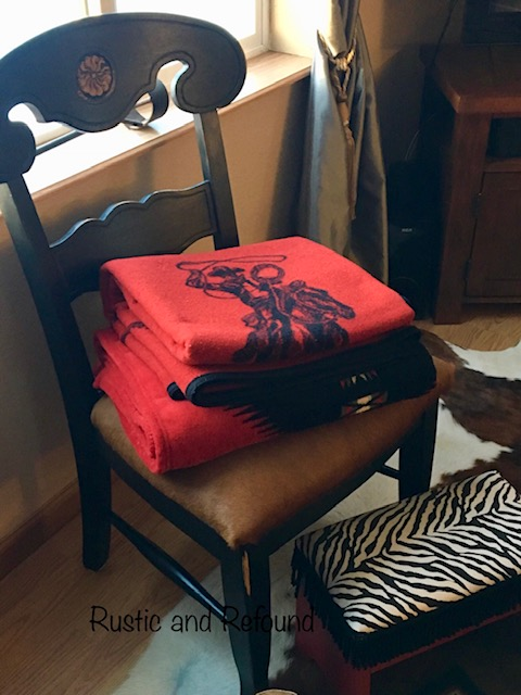 black chair with blankets