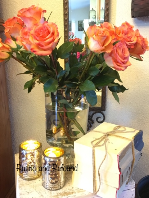 salmon roses and books 2