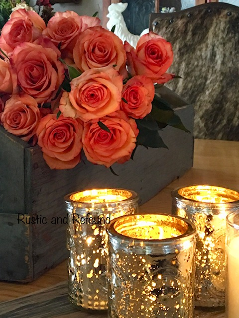 salmon roses and candles2
